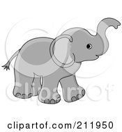 Royalty Free RF Clipart Illustration Of A Cute Gray Baby Elephant Holding His Trunk Up