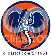 Royalty Free RF Clipart Illustration Of A Blue Elephant Face Logo by patrimonio