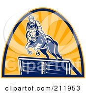 Royalty Free RF Clipart Illustration Of A Logo Of An Equestrian And Horse Leaping Over An Obstacle