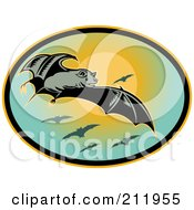 Royalty Free RF Clipart Illustration Of A Flying Bat Logo by patrimonio