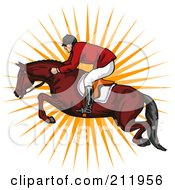 Royalty Free RF Clipart Illustration Of A Jockey Leaping On A Horse by patrimonio