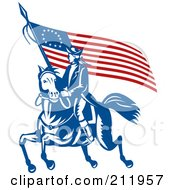 Clip Art Revolutionary War Clipart royalty free rf revolutionary war clipart illustrations vector illustration of a soldier on horseback with flag