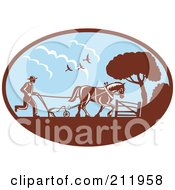 Royalty Free RF Clipart Illustration Of A Farmer And Horse Plowing A Field