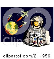 Royalty Free RF Clipart Illustration Of An Astronaut With A Planet And Rockets by patrimonio
