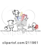 Royalty Free RF Clipart Illustration Of A Stick Woman Shopping With Children by NL shop