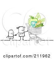 Royalty Free RF Clipart Illustration Of A Stick Woman Holding Hands With Her Kid And Grocery Shopping