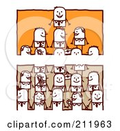 Royalty Free RF Clipart Illustration Of A Split Orange And Tan Scene Of Stick Business Men Forming A Pyramid by NL shop