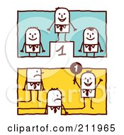 Royalty Free RF Clipart Illustration Of A Digital Collage Of Stick Business Men On Podiums