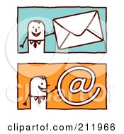 Royalty Free RF Clipart Illustration Of A Digital Collage Of Stick Business Men With Email
