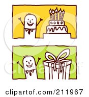 Royalty Free RF Clipart Illustration Of A Digital Collage Of Stick Business Men With A Birthday Cake And Present by NL shop