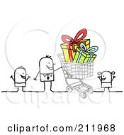 Royalty Free RF Clipart Illustration Of A Stick Man Shopping With His Kids