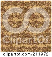 Royalty Free RF Clipart Illustration Of A Seamless Repeat Background Of Dried Leaves On Tan
