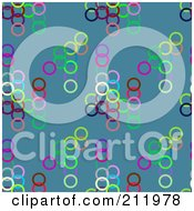 Royalty Free RF Clipart Illustration Of A Seamless Repeat Background Of Colorful Circles On Blue by chrisroll