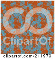 Royalty Free RF Clipart Illustration Of A Seamless Repeat Background Of Blue Bubbles On Orange by chrisroll