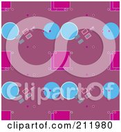 Royalty Free RF Clipart Illustration Of A Seamless Repeat Background Of Blue And Pink Circle And Squares by chrisroll