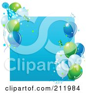 Royalty Free RF Clipart Illustration Of A Blue Birthday Party Sign With Balloons A Party Hat And Confetti by Pushkin