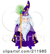 Royalty Free RF Clipart Illustration Of An Old Wizard Holding A Glowing Emerald Staff by Pushkin