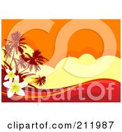 Royalty Free RF Clipart Illustration Of A Hot Tropical Sunset Background With Red Waves And Plumeria Flowers