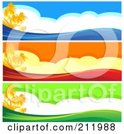 Royalty Free RF Clipart Illustration Of A Digital Collage Of Three Colorful Tropical Island Website Borders by Pushkin