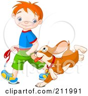 Royalty Free RF Clipart Illustration Of A Happy Red Haired Boy Walking His Puppy by Pushkin