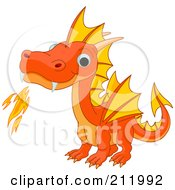 Cute Orange Baby Dragon Breathing Fire