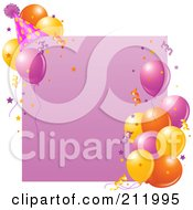 Royalty Free RF Clipart Illustration Of A Pink Birthday Party Sign With Balloons A Party Hat And Confetti