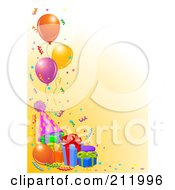 Royalty Free RF Clipart Illustration Of A Border Of Birthday Balloons Presents Confetti And A Party Hat On Orange