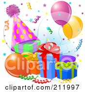 Royalty Free RF Clipart Illustration Of A Party Hat Presents And Confetti