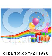 Royalty Free RF Clipart Illustration Of A Rainbow With Birthday Presents Balloons And Confetti Over Blue