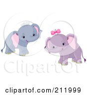 Royalty Free RF Clipart Illustration Of Two Adorable Baby Boy And Girl Elephants