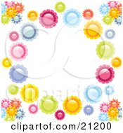 Clipart Illustration Of Pink Blue Orange Yellow And Green Flowers Creating A Circle Over A White Background by elaineitalia