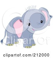 Royalty Free RF Clipart Illustration Of A Cute Baby Boy Elephant Smiling