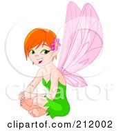 Royalty Free RF Clipart Illustration Of A Pretty Fairy Woman In A Green Dress Sitting And Smiling