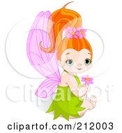 Royalty Free RF Clipart Illustration Of A Cute Fairy Girl In A Green Dress Sitting With A Pink Flower