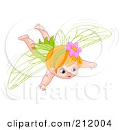 Royalty Free RF Clipart Illustration Of A Flying Red Haired Fairy Girl