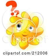 Royalty Free RF Clipart Illustration Of A Confused Sun Face Thinking With A Question Mark by Pushkin