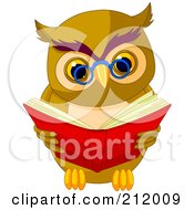 Royalty Free RF Clipart Illustration Of A Smart Owl Wearing Glasses And Reading A Book by Pushkin