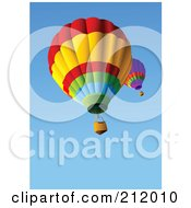 Royalty Free RF Clipart Illustration Of A Lower View Of Two Hot Air Balloons In A Clear Blue Sky