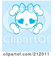 Royalty Free RF Clipart Illustration Of A Blue Girly Skull With A Bow by Pushkin