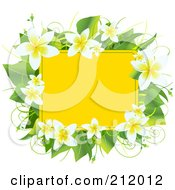 Royalty Free RF Clipart Illustration Of A Yellow Box Bordered With Plumeria Flowers And Green Leaves by Pushkin
