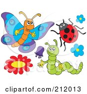 Royalty Free RF Clipart Illustration Of A Digital Collage Of A Ladybug Caterpillar And Butterfly by visekart