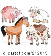 Royalty Free RF Clipart Illustration Of A Digital Collage Of A Cute Piggy Sheep Horse And Cow