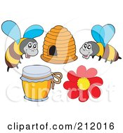Royalty Free RF Clipart Illustration Of A Digital Collage Of Two Bees Honey A Hive And Flower by visekart