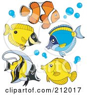 Royalty Free RF Clipart Illustration Of A Digital Collage Of Saltwater Fish by visekart