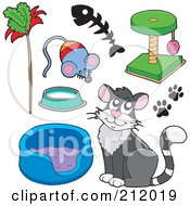 Royalty Free RF Clipart Illustration Of A Digital Collage Of A Cat With A Bed Toys And Scratcher