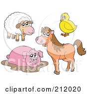 Digital Collage Of A Cute Sheep Chick Muddy Pig And Horse