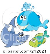 Royalty Free RF Clipart Illustration Of A Digital Collage Of A Happy Whale Shark And Fish