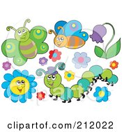 Royalty Free RF Clipart Illustration Of A Digital Collage Of Butterflies Flowers And A Caterpillar