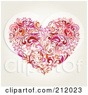 Royalty Free RF Clipart Illustration Of A Red And Orange Floral Heart Design On Beige by OnFocusMedia