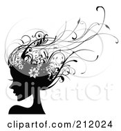 Royalty Free RF Clipart Illustration Of A Beautiful Woman With Long Black Floral Vine Hair